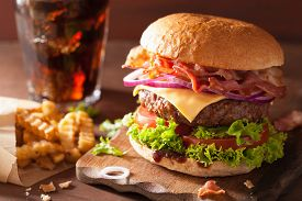 picture of burger  - bacon cheese burger with beef patty tomato onion cola - JPG