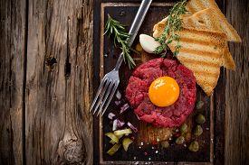 foto of tartar  - Close up of beef tartar - JPG
