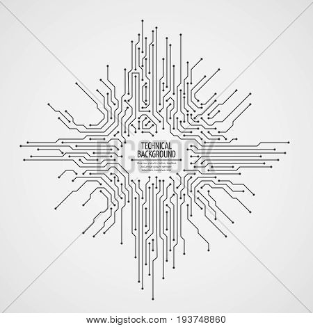 poster of Computer motherboard vector background with circuit board electronic elements. Chip electronic pattern for computer technology, motherboard integrated computing illustration
