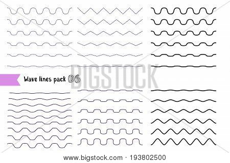 poster of Vector Big Set Of Wavy - Curvy And Zigzag - Criss Cross Horizontal Lines With Different Bend. Graphi