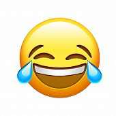 Emoji Yellow Face Lol Laugh And Crying Tear Icon poster