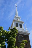 stock photo of paul revere  - Steeple of The Old North Church Boston - JPG