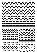 Vector Big Set Of Seamless Wavy - Curvy And Zigzag - Criss Cross Horizontal Lines. Graphic Design El poster