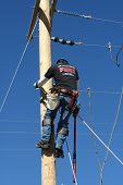 picture of lineman  - an electrical lineman student working on a pole at a lineman college - JPG