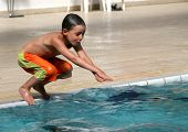 The boy in pool