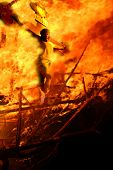 The crucifixion on fire.