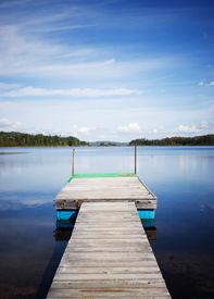 foto of dock a lake  - small deck on lake - JPG