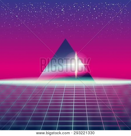 Synthwave Retro Futuristic Landscape With