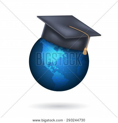 Earth Globe With Graduation Cap