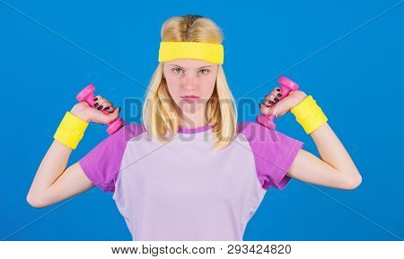 poster of Girl Exercising With Dumbbell. How To Get Toned Physique. Beginner Fitness Exercises. Fitness Upper