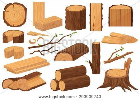 poster of Wood Industry Raw Materials. Realistic Production Samples Collection. Tree Trunk, Logs, Trunks, Wood