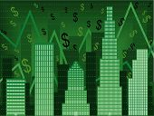 pic of nyse  - Stylized vector chart using buildings to imply rising wall street stock values - JPG