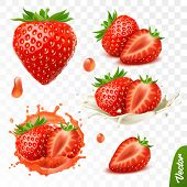 3d Realistic Transparent Isolated Vector Set, Whole And Slice Of Strawberry, Strawberry In A Splash  poster