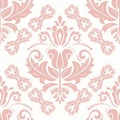 Classic Seamless Vector Pattern. Damask Orient Pink Ornament. Classic Vintage Background. Orient Orn poster