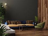 Luxury Modern Living Room Interior, Dark Green Brown Wall, Modern Sofa With Armchair And Plants, 3d  poster