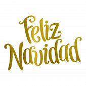 Merry Christmas Translation Feliz Navidad Golden Metallic Illustration poster