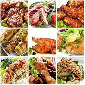 Collage de platos de pollo.  Incluye miel soy Muslitos de pollo, ensaladas, buffalo wings, Escalopes,