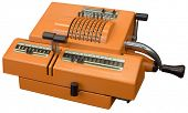 Old orange manual calculator isolated with clipping path