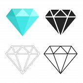 Set Of Diamonds Icon. Linear Outline Sign. Blue, Black And White Diamond. Template Design For Corpor poster