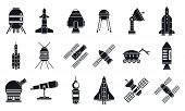 Spaceship Research Technology Icons Set. Simple Set Of Spaceship Research Technology Vector Icons Fo poster