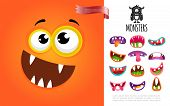 Cartoon Cute Silly Creature Face Concept With Colorful Funny Monsters Mouths Vector Illustration poster