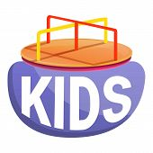 Kids Merry-go-round Logo. Cartoon Of Kids Merry-go-round Vector Logo For Web Design Isolated On Whit poster