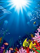 Vector illustration with underwater world of the tropical sea, coral reefs, colored fishes and brigh