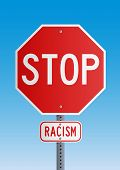 picture of stop fighting  - Stop road sign symbol for fight against the racism - JPG