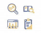 Survey Results, Analytics And Search Book Icons Simple Set. Checklist Sign. Best Answer, Audit Analy poster