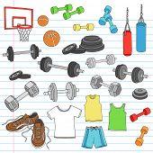 Men's Fitness Workout Sports Apparel and Exercise Equipment Notebook Doodle Design Elements Set on Lined Sketchbook Paper Background- Vector Illustration