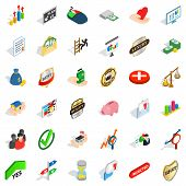 Excellence Icons Set. Isometric Style Of 36 Excellence Icons For Web Isolated On White Background poster