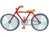 Cartoon Sport Object Bicycle Isolated on White Background. Vector.