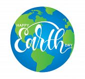 Hand Sketched Happy Earth Day Typography Lettering Poster. Modern Calligraphy. White Sign On The Bac poster