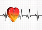 corazón de colorido en 3D en un gráfico de cardiograma
