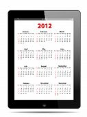 Calendar For 2012 In Tablet Pc On White, Vector Format