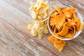 fast food, junk-food, cuisine and eating concept - close up of crunchy potato and corn crisps or nac poster