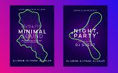 Electronic Event. Bright Concert Magazine Set. Dynamic Gradient Shape And Line. Neon Electronic Even poster