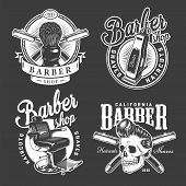 Vintage Barbershop Logos With Shaving Brush Barber Chair Electric Hair Clipper Razors Stylish Hipste poster