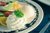 Vintage Whipped Cream Ice Cream Chocolate Dessert Strawberry Blueberry Kiwi Lemon Waffle Chocolate D poster
