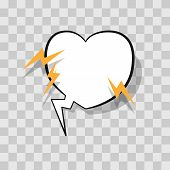 White Speech Bubble In Heart Shape With Lightning For Chat In Social Networks Or Cloud Comic Templat poster