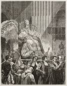 Pope Pius IX extolled in a sedan chait, old illustration. Created by Therond after painting of Vernet, published on Le Tour du Monde, Paris, 1867