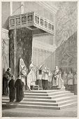 Papa oficiando Misa en la Capilla Sixtina (Pío IX). Creado por Neuville después de Delaunay, publicado