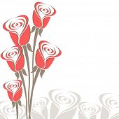 Bouquet of pink roses for love on seamless roses background for Valentines Day and other occasions.