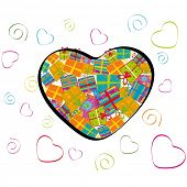 Vector illustration of a heart shape filled up with colorful gift boxes on isolated heart shape background for Valentines Day and other occasions.