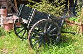 Wooden handcart.