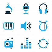 Multimedia Icons Colored Set With Sound, Lyre, Timbrel And Other Headset Elements. Isolated  Illustr poster