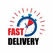 Fast Delivery Watch Service With Red Arrows. Express Fast Delivery Service Stopwatch Icon Vector Eps poster