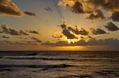 Sunset Above The Sea. Beauty Sunset. The Sea On A Background Of Sunset. Summer, Evening Sea Waves. E poster