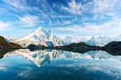 Incredible view of clear water and sky reflection on Lac Blanc lake in France Alps. Monte Bianco mou poster
