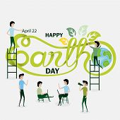 Business People Cartoon Character & Green Happy Earth Day Typographical Design Elements.happy Earth  poster